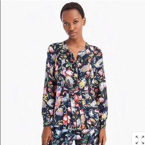 J.crew Silk popover in floral print